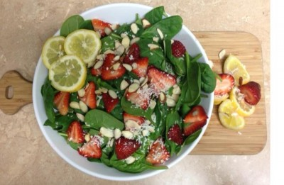 Spring Salad with Strawberry Lemon Basil Dressing